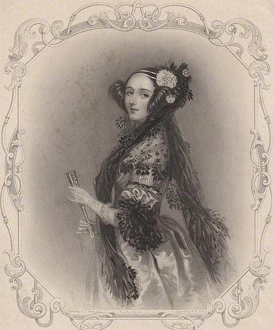 an engraving of ada king, countess of lovelace.