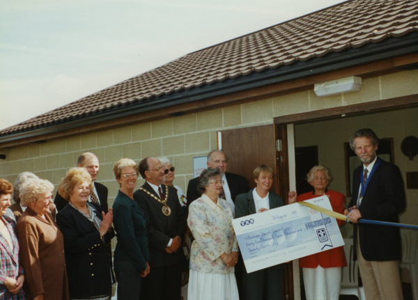 The opening of the latest pavilion in 1996 with the Mayor, Cllr David Wood and the Parish Council Chairman, Cllr Keith Lynch and Parish Clerk, Peggy Howard.
