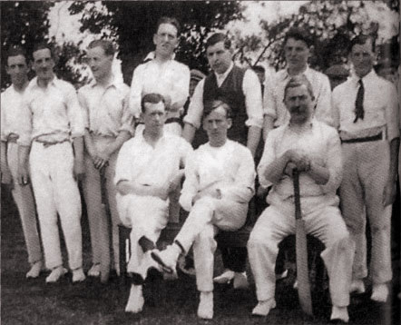 Burbage National School team 1922 outside the pavilion.