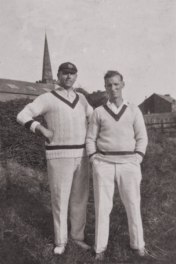 Jack Dobson (left) and Harold Waring celebrate their opening stand of 131 against Narborough in August 1930.
