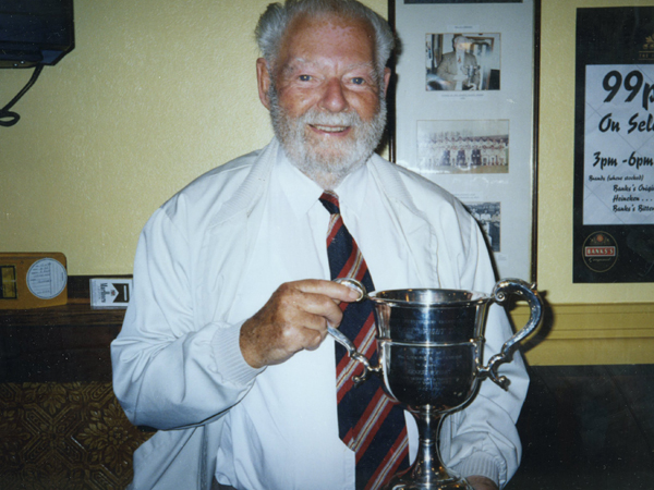 Fred Pearson with the first of his two Ernest Wright Trophies in 1984.