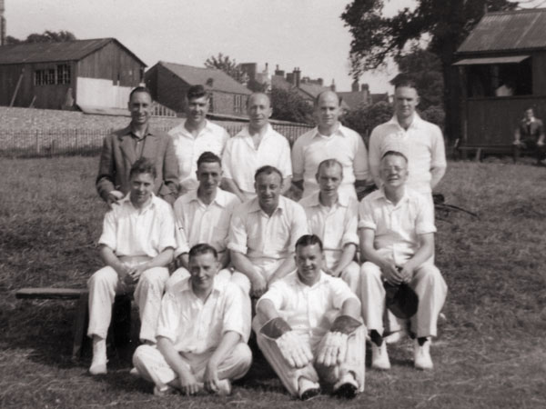 Burbage cricketers in 1955 at Hinckley Road.
