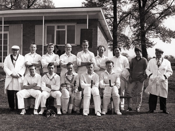 Burbage cricket team in 1966 outside the newly constructed pavilion.