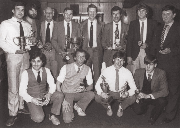 Happy trophy recipients at the dinner in 1984