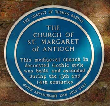 Blue Plaque for the Church of St. Margaret of Antioch