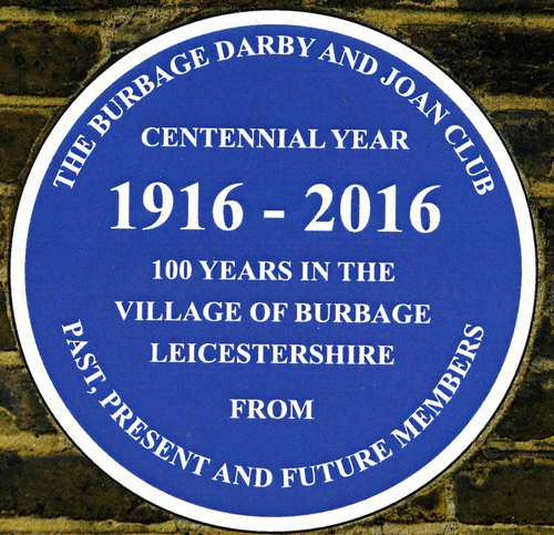 Blue Plaque for Darby and Joan Club
