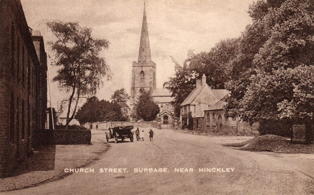 Church Street with St.Catherines Church in Burbage, Leicestershire