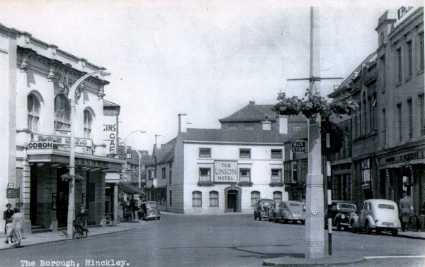 Looking towards the Union Hotel with the Odeon Cinema to the left, about 1950.