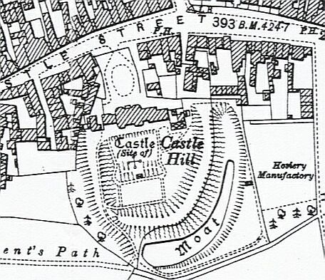 1902 OS Map showing plan of Castle Hill House