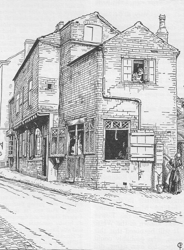 Drawing by Cecily Pickering of old 'butcher's shop, Castle Street' (from A. J. Pickering, The Cradle and Home...)