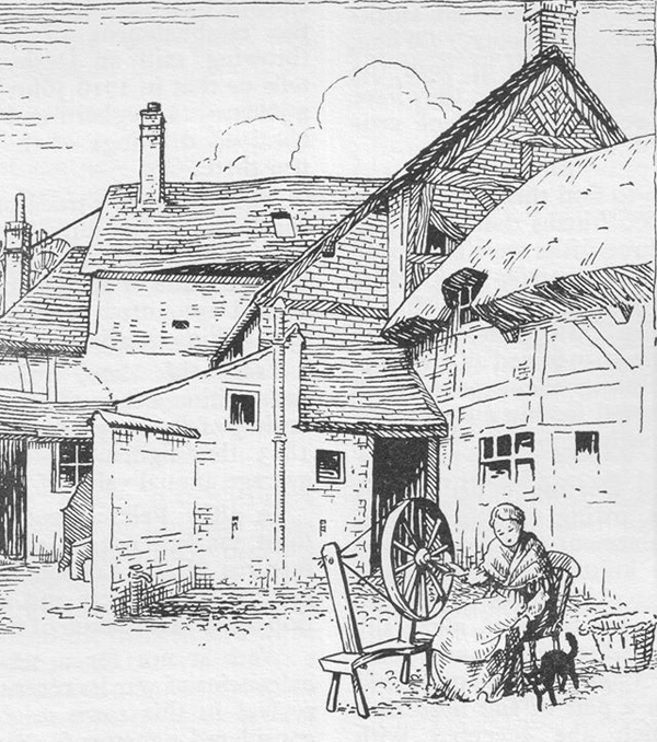 Drawing by Cicely Pickering of the rear of Church Street (from A. J. Pickering, The Cradle and Home...)