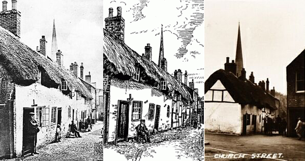 left: Church Walk about 1910. centre: Drawing by Cicely Pickering (from A. J. Pickering, The Cradle and Home… ). right: Church Street, about 1950