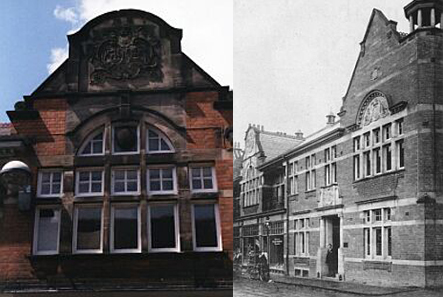 left: Upper floor window detail. right: The Constitutional Club in the 1920s.