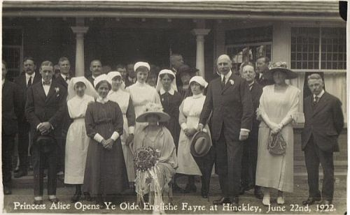 Princess Alice opens Ye Olde Englishe Fayre at the front of the hospital on 22nd June 1922