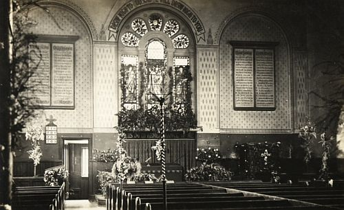 Interior of the Holy Trinity Church looking east, Harvest-tide, 1904