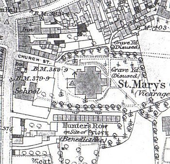 map showing hunters row, hinckley