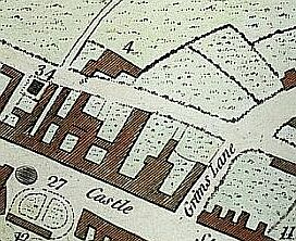 location of chapel on Robinson's town plan of 1782, opposite Wesley's Methodist Meeting House