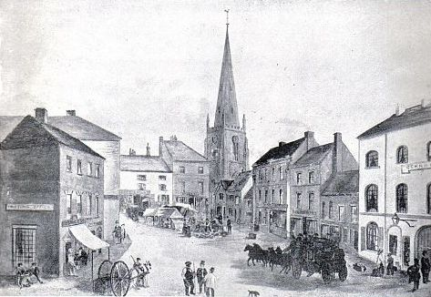 Hinckley Market Place, c.1840, from a watercolour drawing by J. T. Burgess