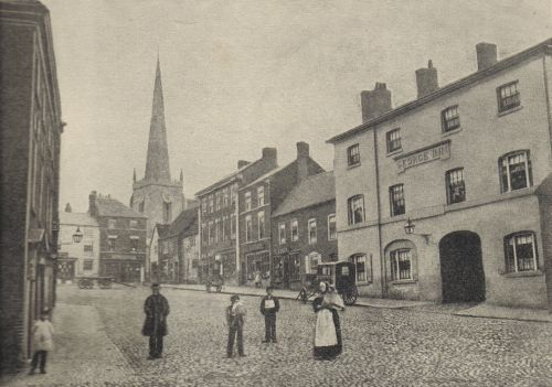 Market Place in the 1870s. Note cottages on site of present Midland Bank.