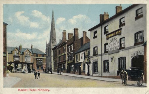 Market Place in 1915, with George Inn advertising funeral services