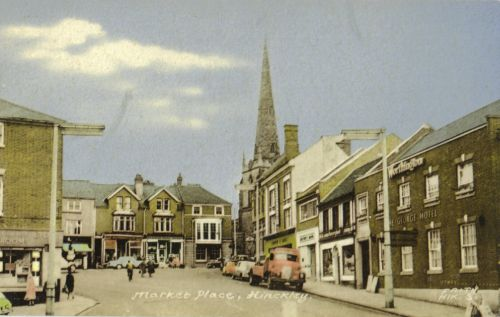 Market Place in 1950, showing rebuilt George Hotel