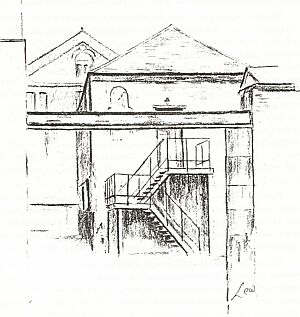 The old chapel in use by Messrs Klynton Davis Ltd, 1985 (sketch by Lew Kershaw)
