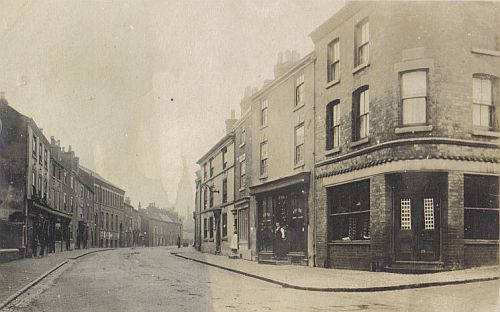 New Buildings from Wood Street, c.1900. Right, foreground, is Argyle House, and further on the right can be seen the Greyhound public house
