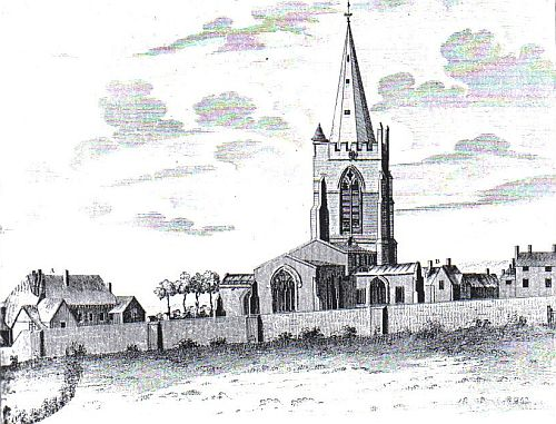 The Priory House (A), Vicarage (B) and St. Mary's Church from the North-East, about 1780