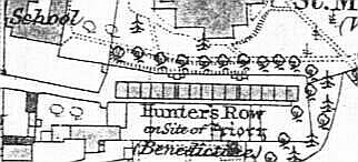 the priory house replacement, Hunters Row (1827), from the 1885-6 1:2500 Ordnance Survey