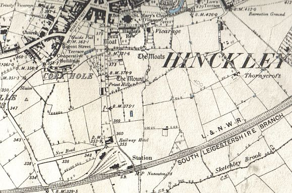 Hinckley Railway Station with associated sidings and warehousing as shown on the 1889 Ordnance Survey