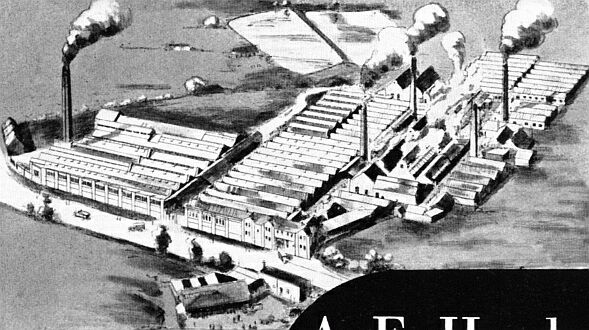 Aerial view of Sketchley Dye Works in about 1940