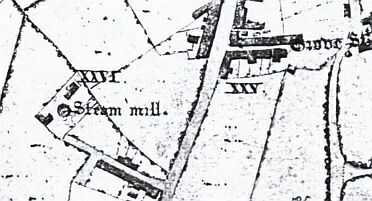 Steam Mill as shown on Edward Phillips map of 1818