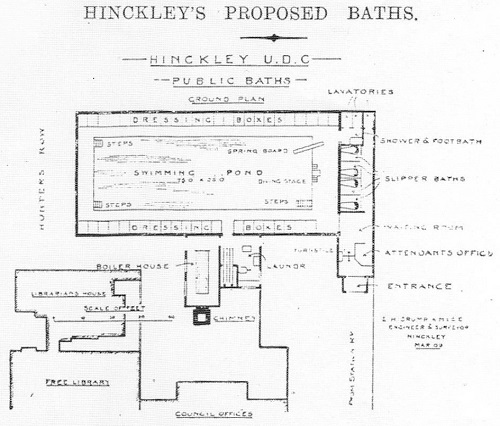 Plan of the proposed baths by E. H. Crump, 1909