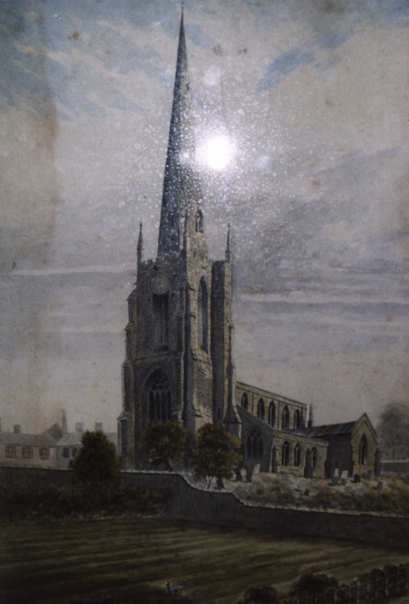 Watercolour showing St Mary's in the early nineteenth century