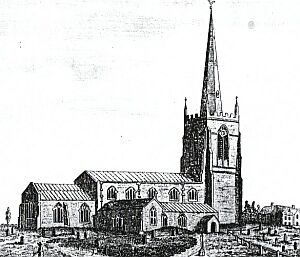 From the north, after 1786, showing the spire as rebuilt by John Cheshire