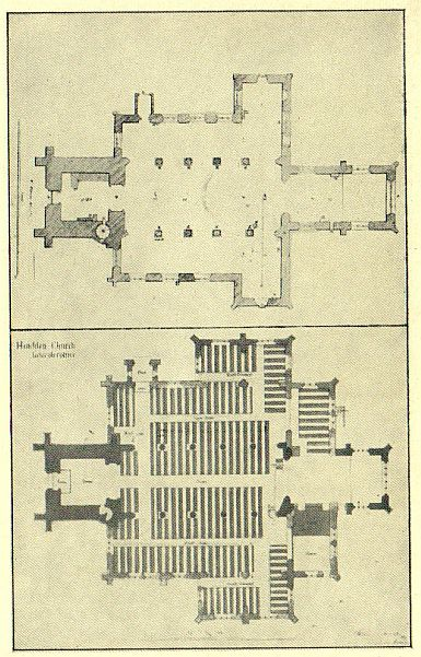 plans of St. Mary's before and after the two campaigns of enlargement and restoration, 1875-6 and 1877-8
