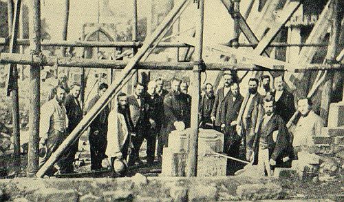 Laying the foundation stone of the new south aisle, Sept 17 1875 (LRO: DE1225/242)