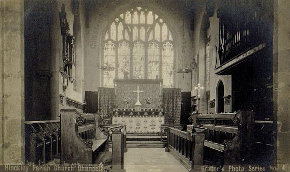 The Chancel in 1903 showing choir stalls, high altar (redesigned with new reredos, 1920) and east window (replaced, 1923)