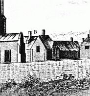 Engraving showing priory house, church and vicarage (B), from Nichols' Leicestershire, 1811