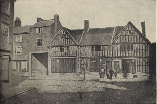 Sixteenth century half-timbered houses in the Borough, on the premises of which stood Hinckley Theatre. They were demolished in 1865