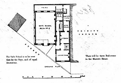 Elevation and groundplan of proposed schools from undated printed circular