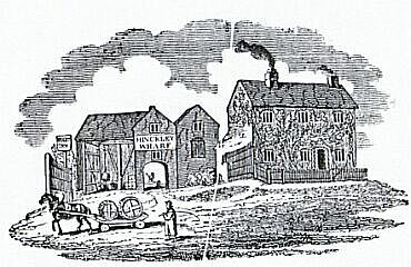 Early 19th century woodcut showing Hinckley Wharf (1802)