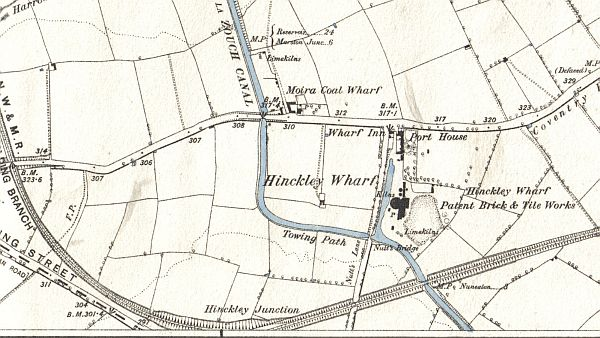 Hinckley Wharf, Wharf Inn, Port House, Brick and Tile Works, Moira Coal Wharf etc. from the 1889 Ordnance Survey