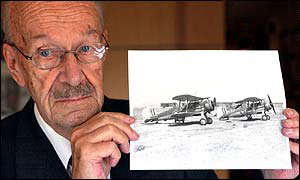 james pickering with a photo of the gloster gladiators