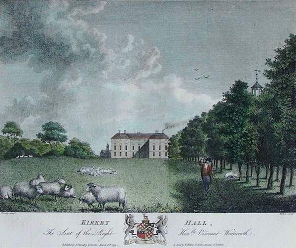 an old antique print of kirkby hall