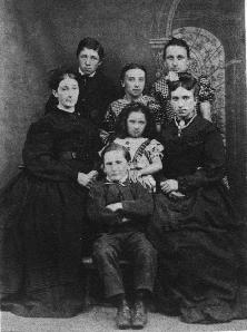 Sarah Ann Powers with her children,George, Louisa, Sarah, Emma, Elizabeth and William, My Gt Grandfather at the front about 1868