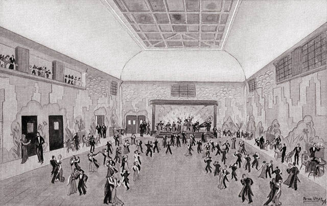 Watercolour of St. George Ballroom. George Hotel