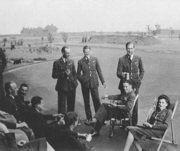 geoffrey rice at raf scampton in May 1943, standing left at rear, guy gibson seated