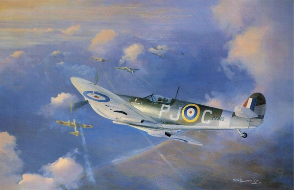 Painting by Mark Postlethwaite of the Hinckley Spitfire